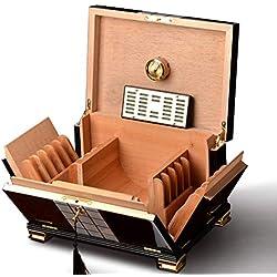 Sweet Humidificateur De Cigare avec Hygromètre Et Humidificateur, Boîte De Rangement Doublée en Cèdre, Cave À Cigares Humidor, Boîte À Cigares Grande Capacité