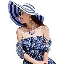 La Haute- Sombrero de paja para mujer con ala ancha y de rayas, sombrero para playa, niña mujer, azul