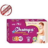 Champs High Absorbent Premium Pant Style Diaper | Premium Pant Diapers (Small, 42 Pieces) Premium Diapers | Premium Baby Diapers | | Anti-rash And Anti-bacterial Diaper |
