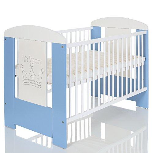 Kinderbett 120x60 inkl. Matratze 3-fach höhenverstellbar | 3 Schlupfsprossen | weiß-blau