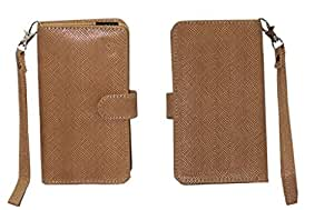 Jo Jo A9 Anya Leather Carry Case Cover Pouch Wallet Case For Videocon Mobiles Infinium Z51 Nova Light Brown
