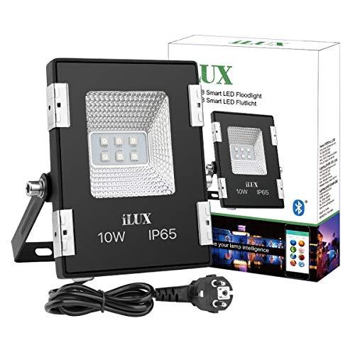 LE Smart RGB Fluter, 10W IP65 wasserdicht Flutlicht, Steuerbar via App Smartphone mit Fernbedienung, Bluetooth Smart Deko Lampe Strahler