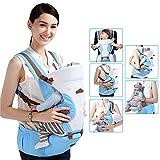 GBlife Marsupio Neonato Ergonomico Regolabile per Baby Carrier confortevole e Respirante Fascia Portibile Multifuzionale 110cm della Lunghezza della Cintura con Seggiolino da Anca (Azzurro chiaro)