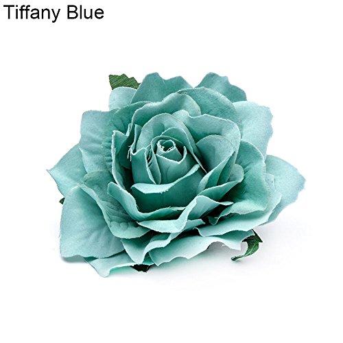 AchidistviQ - Fermaglio per capelli con fiore, per sposa, damigella d'onore, con rosa artificiale, doppio utilizzo: come accessorio per capelli o spilla per vestiti Tiffany Blue