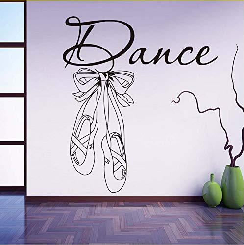 Wuyyii Tanz Zitate Wandaufkleber Moderne Nordic Art Design Ballett Schuhe Abnehmbare Vinyl Wandtattoos Für Kinder Mädchen Zimmer Dekoration 67X59 Cm