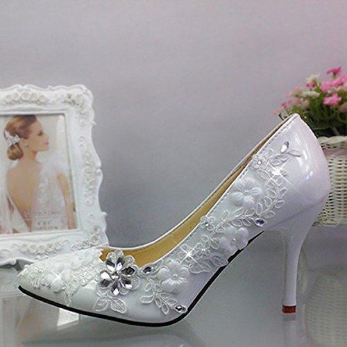 Jingxinstore Fleur Blanc Dentelle Cristal Pointu Mariage Diamant Haut Talon Chaussures Avec La Mariée De Mariage Performance Femmes Chaussures Simples Blanc