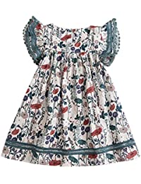 Vestido para Niña Fiesta Primavera Verano 2019,PAOLIAN Vestido Princesa Corto Niña 2-8 años Manga Cortas Estampado Floral Conjunto Bebe Nina Mono Cumpleaños Falda Casual Playa Azul Blanco