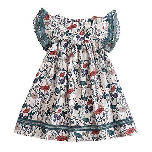 JUTOO Kleinkind Kinder Baby mädchen Kleidung Spitze Blumendruck Party Prinzessin Kleider (Weiß,90)