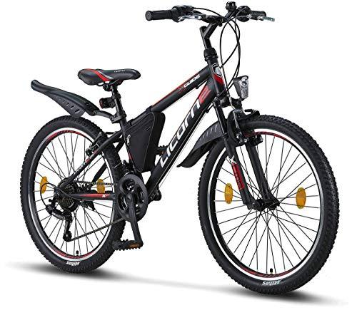 Licorne Bike Guide (Schwarz/Rot/Grau) 24 Zoll Kinderfahrrad, geeignet für 8, 9, 10, 11 Jahre, Shimano 21 Gang-Schaltung, Mountainbike mit Gabelfederung, Jungen-Mädchen-Fahrrad, Beleuchtung, MTB