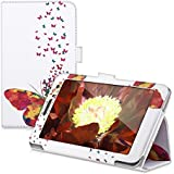 kwmobile Funda para Huawei MediaPad T1 7.0 / Honor Play Tablet T1 - Case delgado para tablet con soporte - Smart Cover slim para tableta Diseño enjambre de mariposas en multicolor rosa fucsia blanco