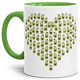 Tassendruck Avocado-Tasse Herz Innen & Henkel Hellgrün/Trend-Frucht/Geschenk-Idee/Kaffee-Tasse/Mug/Cup Qualität - 25 Jahre Erfahrung