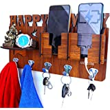 US DZIRE ™ 824 Multi Utility Mobile Charging Stand Key Holder, Cloth Hangershelf for Napkin Watch Wallet Suitable for Living Room, Bedroom, Wooden Handcrafted Wall Décor