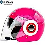 TKTTBD Casques Moto Jet Bluetooth, Casques Motocross, Casque Open Face AVCE Double...