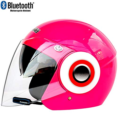 TKTTBD Bluetooth Motorradhelm Jethelme,Klapphelme Motorradhelm Antifogging mit Dual Lens Flip Up Helme Offroad Motocross Schutzkappen Automatic Answer Chopper Woofer