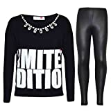 A2Z 4 Kids® Kinder Mädchen LIMITED EDITION Aufdruck Modisch Top & Mode Legging Satz - Limited Edition Set Black 9-10