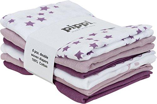 Pippi Mullwindeln 6er-Pack Lila/Weiß Größe 70x70 cm