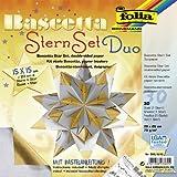Faltblätter Bascetta Stern Duo, silber gold, 15x15, - CFO366-1515