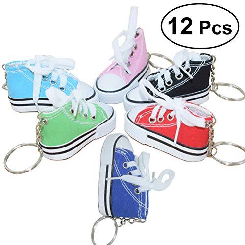 TOYMYTOY Portachiavi scarpa sneaker in canvas mini - portachiavi per regalo souvenir donna ragazza - confezione da 12 (Colore casuale)