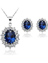 c2c61fcbd967 Stayeal - Conjunto de pendientes y collar con colgante de zafiro de color  azul para mujer