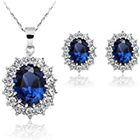 Stayeal Women Princess Blue Sapphire Pendant Necklace Earrings Set