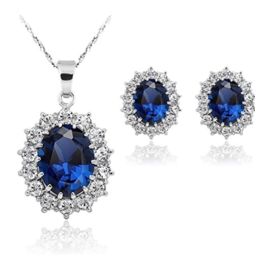 - 51GWLy5HMQL - Stayeal Women Princess Blue Sapphire Pendant Necklace Earrings Set