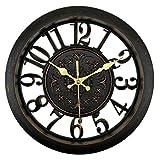 Foxtop 11 Pouces Vintage Noir Horloge Murale Horloge Silencieuse Sans Tic Tac...