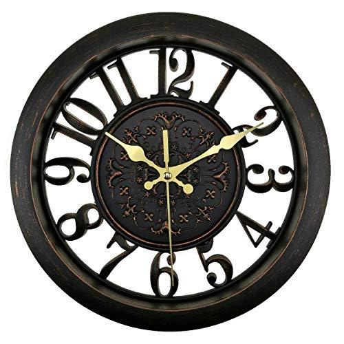 Foxtop 11 Pouces Vintage Noir Horloge Murale Horloge Silencieuse Sans Tic Tac Numérique Calme Balayage Décoratifs Horloge Pendule Murale avec Design Creux de Nouveauté