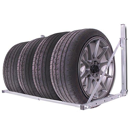 Supporto pieghevole a parete per garage o laboratorio, scaffale mensola porta pneumatici