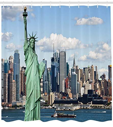 ABAKUHAUS Hafen Duschvorhang, Statue von Liberty NYC, mit 12 Ringe Set Wasserdicht Stielvoll Modern Farbfest und Schimmel Resistent, 175x240 cm, Blau