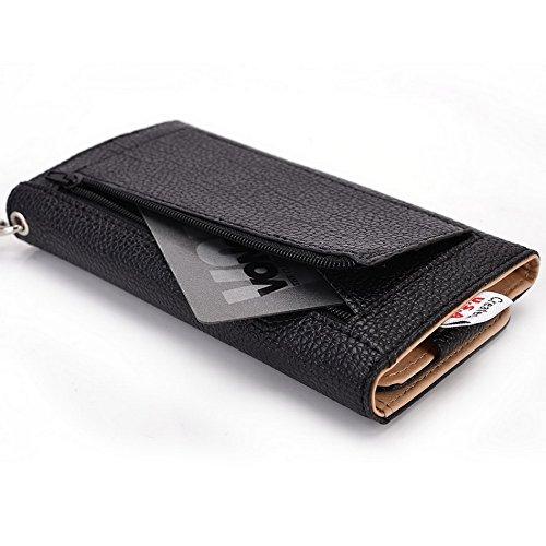 Kroo Pochette Téléphone universel Femme Portefeuille en cuir PU avec dragonne pour Archos 50b Helium 4G/50Diamant Violet - violet noir - noir