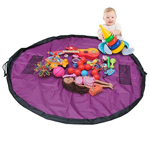 MULGORE Kinder Spielzeug Aufbewahrungsbeutel Spiel Matte Schnelle Sammlung Tasche Organizer Große Größe 150CM Für Haus & Outdoor (Lila) (Handtasche Große Drawstring)