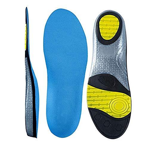 MUOU Sneaker Einlegesohlen Fußbett Dämpfung Schuheinlagen Arbeitsschuhe Gel Sohle Einlage Sporteinlegesohlen gegen Schweiss für Damen und Herren (XXXL=46EU, Blau) -