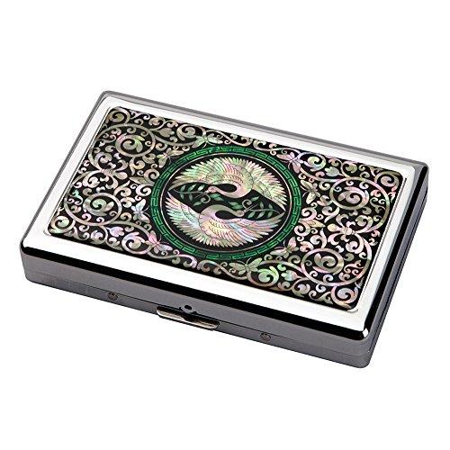 Etui Compact Elegant Design de Nacre OISEAU GRUES ETERNITE Intérieur Métallique pour 16 Cigarettes 100s/King Size ou Porte Billet 5/10 euros
