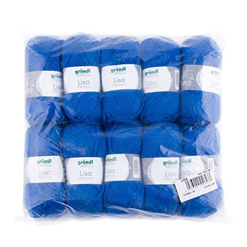 Gründl lisa premium confezione di 10 gomitoli, acrylico, blu, 34x30x8.5 cm