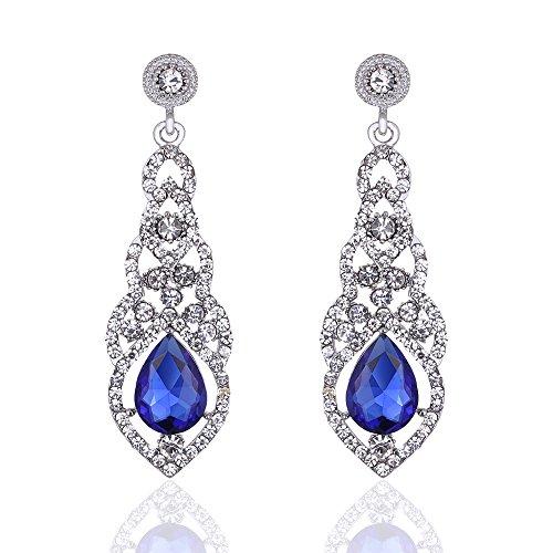 mecresh Blu Cristallo Unico Design Fiore Lacrima Penzolare Orecchini per Bridemaid o Matrimonio