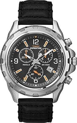Timex T49985 - Reloj de cuarzo para hombres , correa de acero inoxidable, color negro de Timex