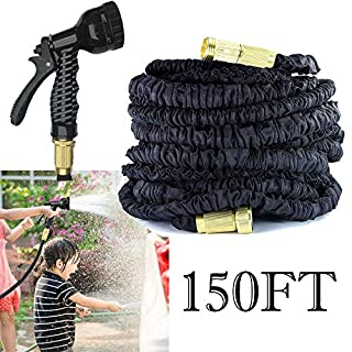 AutoFu Expandable Garden Hoses 150FT Black Water Hosepipes Flexi Hose Pipe With Muti Function Spray Gun for Garden£¬Flexible Anti-Leakage Lightweight Easy Storage, 3/4