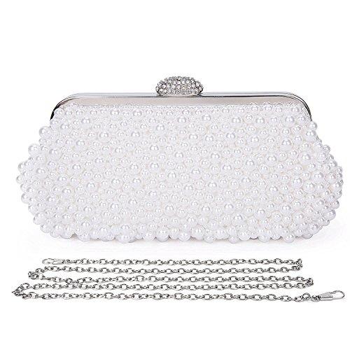Perlen Pailletten-abend-geldbeutel (Beddingleer Damen Elegante Rose Clutch Handtasche Unterarmtasche Abendtasche Schultertasche 24x13x7cm)