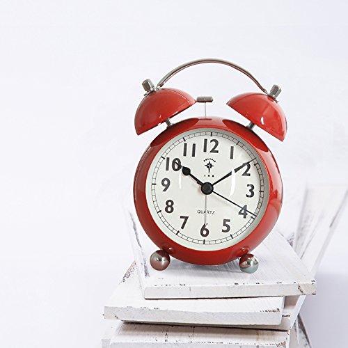 LTOOD Polaris Studenten Metall Wecker Nachttischuhr Kreative Art und Weise Einfacher Großer Stiller Wecker mit Nachtlicht Arbeitern, SN06 Rot