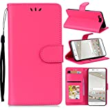 (for Huawei P10) Flip Wallet Case Cover And 360 Degree Full Body Protective Bumper Cover, Premium Protective Skin Material - Rosy