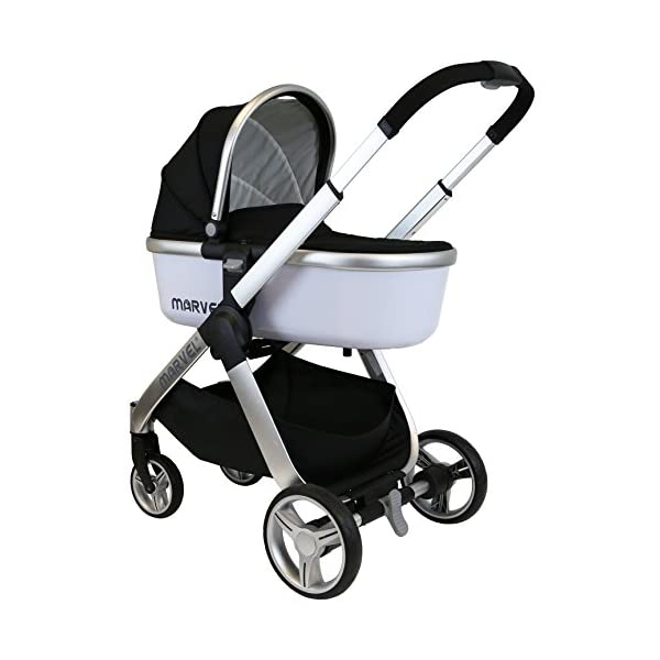 iSafe Marvel 3 in 1 Travel System with Car Seat & Carrycot & Luxury Changing Bag (Black Pearl) iSafe Complete With Free Carseat & Carrycot & Luxury Changing Bag Complete With Free Stroller Raincover Complete With Free Stroller Boot Cover 4