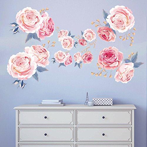 decalmile Wandtattoo Blumen Rosa Rosen Wandsticker Wohnzimmer Schlafzimmer Wanddeko - Bild Rosen Rosa