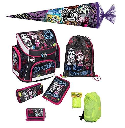 Monster High Schulranzen Set 7tlg. Schultüte 85cm, Federmappe, Regen-/Sicherheitshülle Scooli MHCP8251-GR