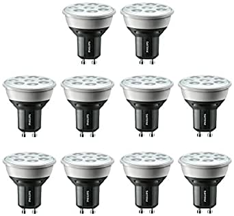philips master led gu10 5w spotlights 50w replacement dimmable warm white pack of 10. Black Bedroom Furniture Sets. Home Design Ideas