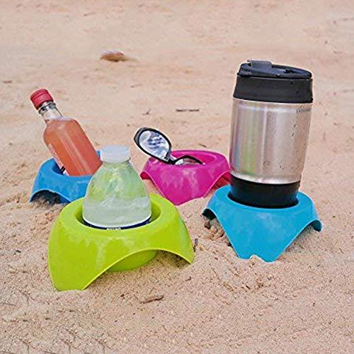 Hankyky 4 STÜCKE Outdoor Beach Coaster Getränkehalter Kunststoff Getränkehalter Beach Vacation Zubehör Lagerung Becherhalter -