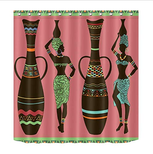 HANYULIAN Duschvorhang Trägt Nationale Kostüme afrikanische Frauen mit hohem Pottery Badezimmer-Duschvorhang wasserdichtem Polyester & 12 Haken Badvorhänge