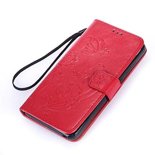 Prägen Blumen-Case, Magnetverschluss Synthetische PU-Leder-Kasten-Abdeckung mit hängenden Seil und Wallet-Funktion für WIKO LENNY3 ( Color : Purple , Size : WIKO LENNY3 ) Red