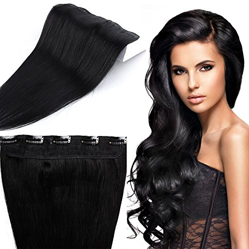 Clip in Extensions Echthaar günstig Haarverlängerung 1 Tessse 5 Clips Haarteile Echthaar Remy Human Hair 50cm-50g(#1 Schwarz)