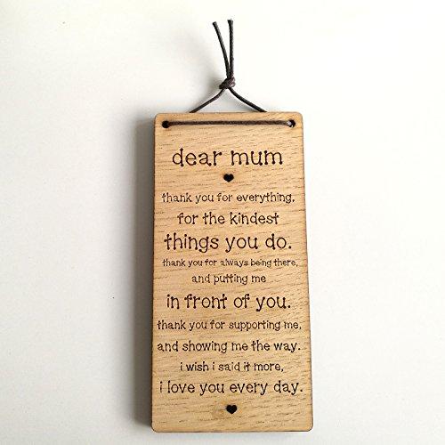 Dear Mum Thank you - Inspirational Wooden Plaque Gift - Mum Mother Love