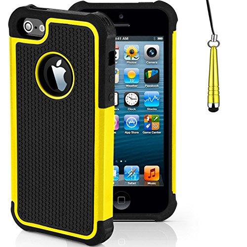 Stoßfest Hülle/Case für Apple iPhone 5c / Absorberabdeckung & Displayschutzfolie / EJC Avenue / Baby Rosa Gelb